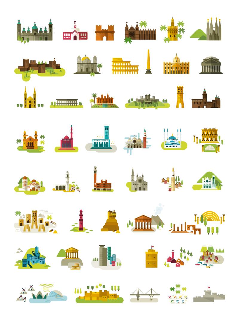 Plano del Mediterráneo. Ilustración de Edificios y monumentos importantes