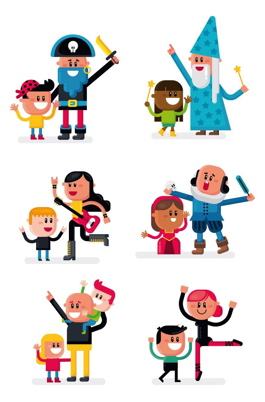 Personajes ilustrados para el Teatro de los Peques