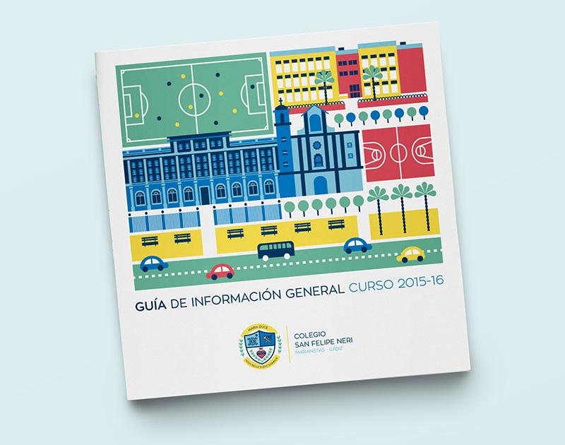 Colegio San Felipe: Diseño Folleto Inscripción. Diseño Del folleto de Inscripción del Colegio San Felipe Neri de Cádiz